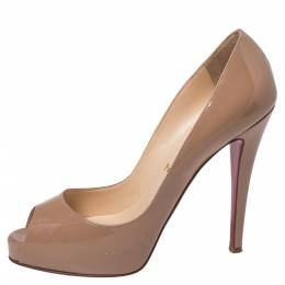Christian Louboutin Beige Patent Leather Very Prive Peep Toe Pumps Size 38.5 357064