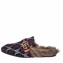 Gucci Blue Diamond Jacquard Fabric And Fur Lined Princetown Mules Sandals Size 42 357805