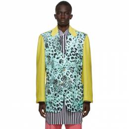 Comme Des Garcons Homme Plus Yellow and Blue Animal Print Blazer PF-J039-051
