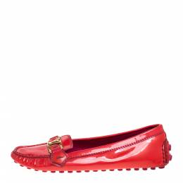Louis Vuitton Red Patent Leather Oxford Ballet Flats Size 39.5 358238