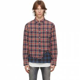 R13 Red and Blue Tattered Hem Shirt R13M9005-924