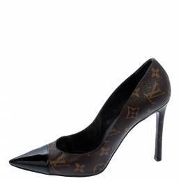Louis Vuitton Brown Monogram Canvas And Patent Leather Fetish Pointed Cap Toe Pumps Size 39.5 360733