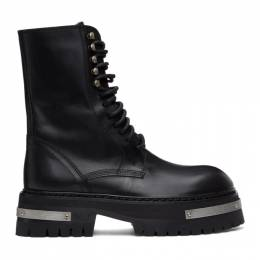 Ann Demeulemeester Black and Silver Oversized Sole Tucson Lace-Up Boots 2002-2918-390-098