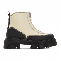 Ganni Black and Off-White Polido Zip Boots S1312