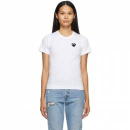 Comme des Garcons Play White and Black Heart Patch T-Shirt T063