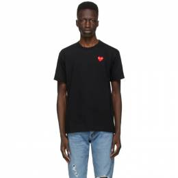Comme des Garcons Play Black and Red Heart Patch T-Shirt P1T108