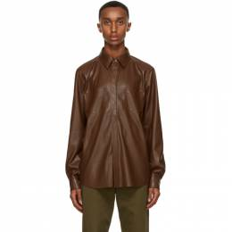 Nanushka Brown Vegan Leather Declan Shirt NM20FWSH02125