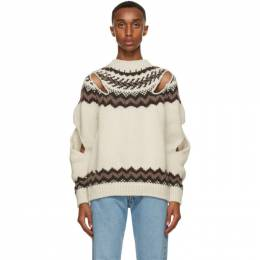 Off-White and Brown Wool Slashed Sweater SCAW20KN10 Stefan Cooke
