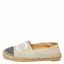 Chanel White/Black Canvas And Tweed Fabric Sequins Embellished CC Cap Toe Espadrilles Flats Size 37 363026