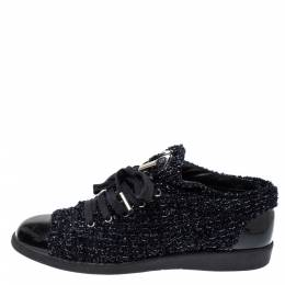 Chanel Black/Navy Blue Shimmery Tweed and Patent Leather Cap Toe Sneakers Size 38 366431