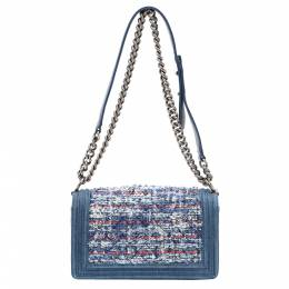 Chanel Blue Denim/Tweed Boy Medium Bag 362834