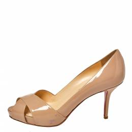 Christian Louboutin Beige Patent Leather Shelley Pumps Size 38 369246