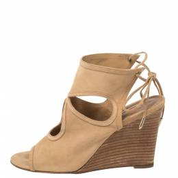 Aquazzura Beige Suede Sexy Thing Cutout Wedge Sandals Size 38 370414