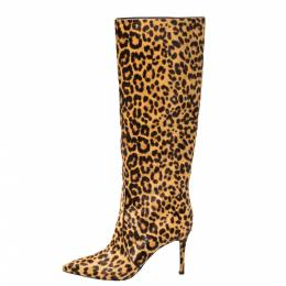 Gianvito Rossi Beige Leopard Print Calfhair Hunter Boots Size 36.5 370924