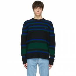 Acne Studios Black and Blue Wool Striped Sweater C60027-