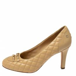 Chanel Beige Quilted Leather Chain Embellished Pumps Size 39 371883