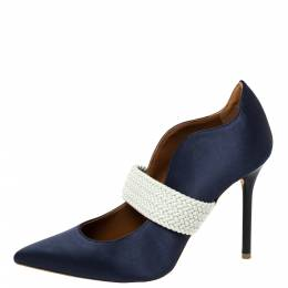 Malone Souliers By Roy Luwolt Navy Blue Satin Maisie Pointed Toe Pumps Size 36 373043