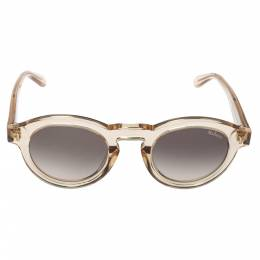 Mulberry Light Brown Transparent Gradient Round Sunglasses 372316