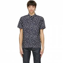 A.P.C. Navy and White Leandra Short Sleeve Shirt COEJX-H12455