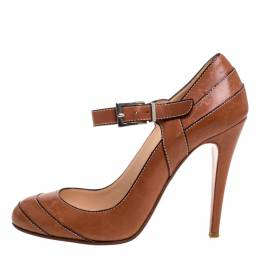 Christian Louboutin Brown Leather Wall Street Pumps Size 38 373780