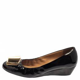 Salvatore Ferragamo Black Patent Leather Tilda Wedge Pumps Size 39.5 375856