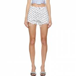Alexander Wang White and Black Bite Logo Shorts 4DC1214899