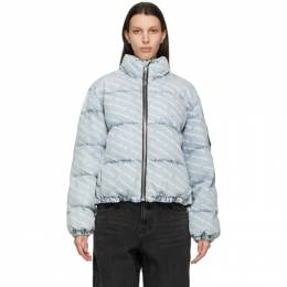 Alexander Wang Blue Denim Logo Puffer Jacket 4DC1212900