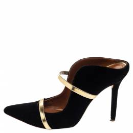 Malone Souliers Black and Gold Satin Maureen Pointed Toe Mules Size 38 376252