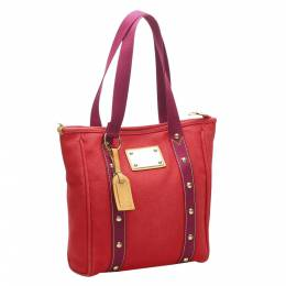 Louis Vuitton Red Canvas Antigua Besace MM Bag 369868