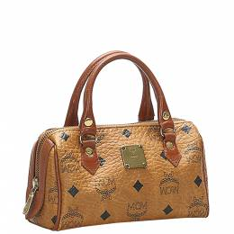 Mcm Brown/Beige Leather Mini Visetos Leather Boston Bag 374214