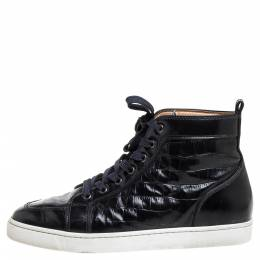 Christian Louboutin Black Croc Embossed Leather Rantus High Top Sneakers Size 43 376050