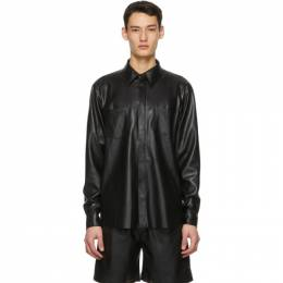 Nanushka Black Vegan Leather Declan Shirt NM20FWSH02499