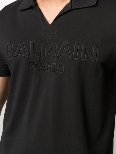 Balmain embossed-logo cotton T-shirt VH1GB005B038 - 5