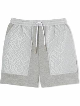 Burberry Kids TEEN monogram-quilted track shorts 8036485