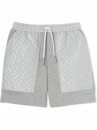 Burberry Kids TEEN monogram-quilted track shorts 8036485 - 1