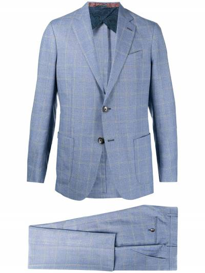 Etro check tailored wool suit 1A1021089 - 1