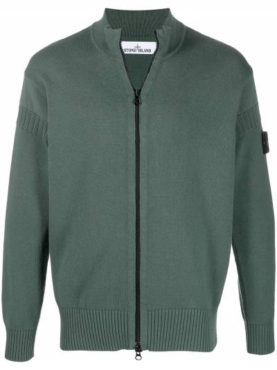Stone Island logo patch zipped cardigan 7415508B6 - 1