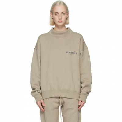 Essentials Khaki Mock Neck Pullover Sweatshirt 192HO202035F - 1
