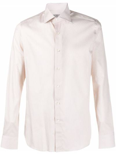 Canali micro-print long-sleeved shirt NX58GR02285 - 1