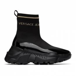 Versace Jeans Couture Black and Gold Logo Speedtrack Sneakers EE0VWASC5E71932