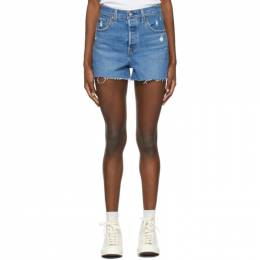 Levi's Blue Denim Ribcage Shorts 77879-0062