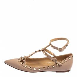 Valentino Beige Leather Rockstud Ankle Strap Ballet Flats Size 38 428657