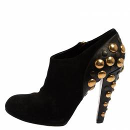 Gucci Black Leather And Suede Embellishment Babouska Boots Size 39 427355