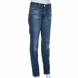 Dolce and Gabbana Navy Blue Faded Denim Distressed Straight Leg Jeans M 427568