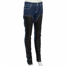 Givenchy Navy Blue Denim Leather Paneled Tapered Leg Jeans M 427547