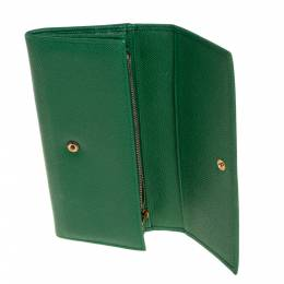 Dolce and Gabbana Green Dauphine Leather Continental Wallet 428193