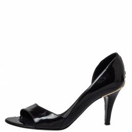 Chanel Black Patent Leather D-orsay Open Toe Pumps Size 37 426722