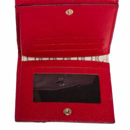 Carolina Herrera Red Monogram Coated Canvas and Leather Compact Wallet 428519