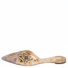 Christian Louboutin Multicolor Laser Cut Leather And Suede Royal Mansour Flat Slipper Size 42 428550