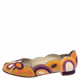 Prada Multicolor Patent Leather Butterfly Peep To Ballet Flats Size 38 428777